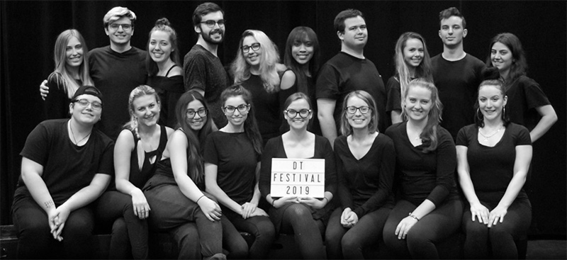 Group shot of the Devised Theatre Festival team