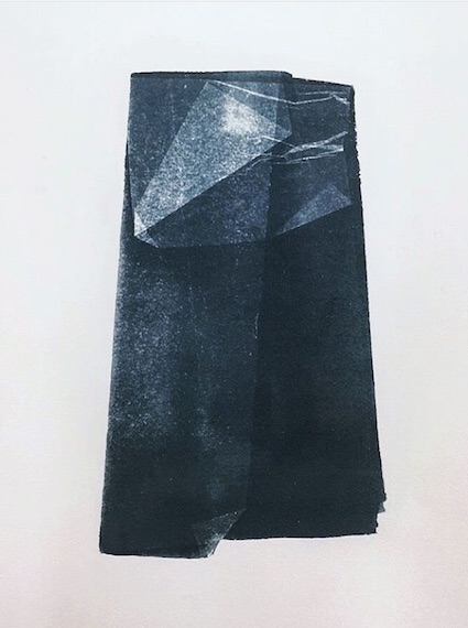 Eszter Rosta's  Wax Paper (Cyanotype, rag paper 12x16 2018)