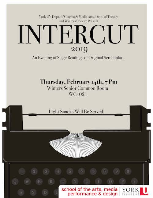 Poster for Intercut, repeats some of the text from the event listing and has an illustration of a typewriter