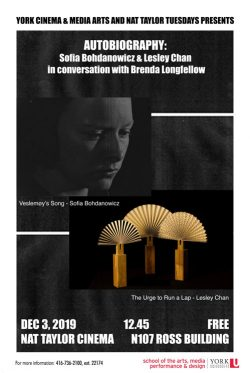 AUTOBIOGRAPHY:  Sofia Bohdanowicz & Lesley Chan in conversation with Brenda Longfellow @ Nat Taylor Cinema