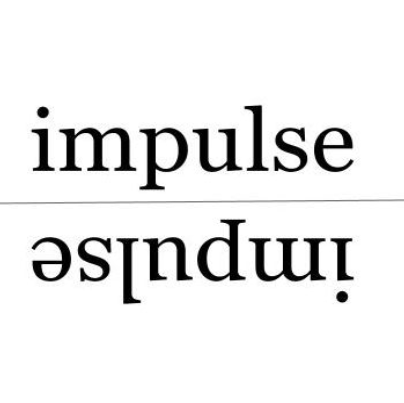 impulse written in lower case with the word upside down and backwards underneath it