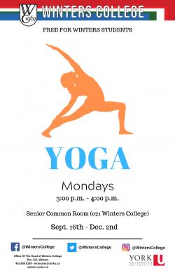 FREE drop-in yoga classes @ Senior Common Room, 021 Winters College