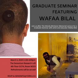 Poster for Graduate Seminar featuring Wafaa Bilal
